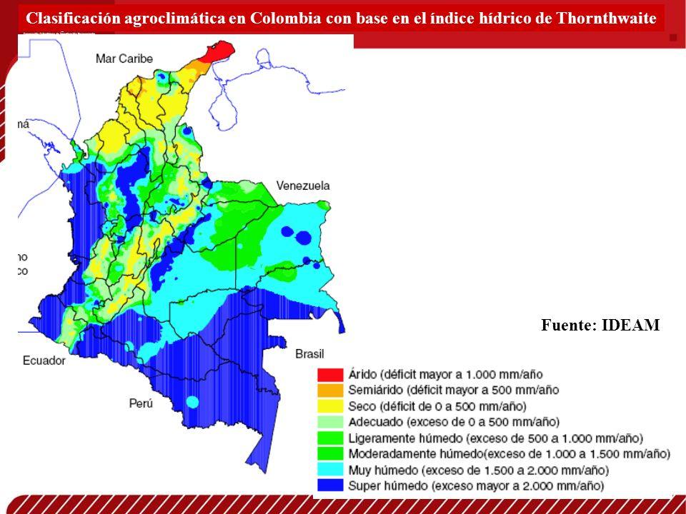 Clasificación agroclimática en Colombia con base en el índice hídrico de Thornthwaite Fuente: IDEAM