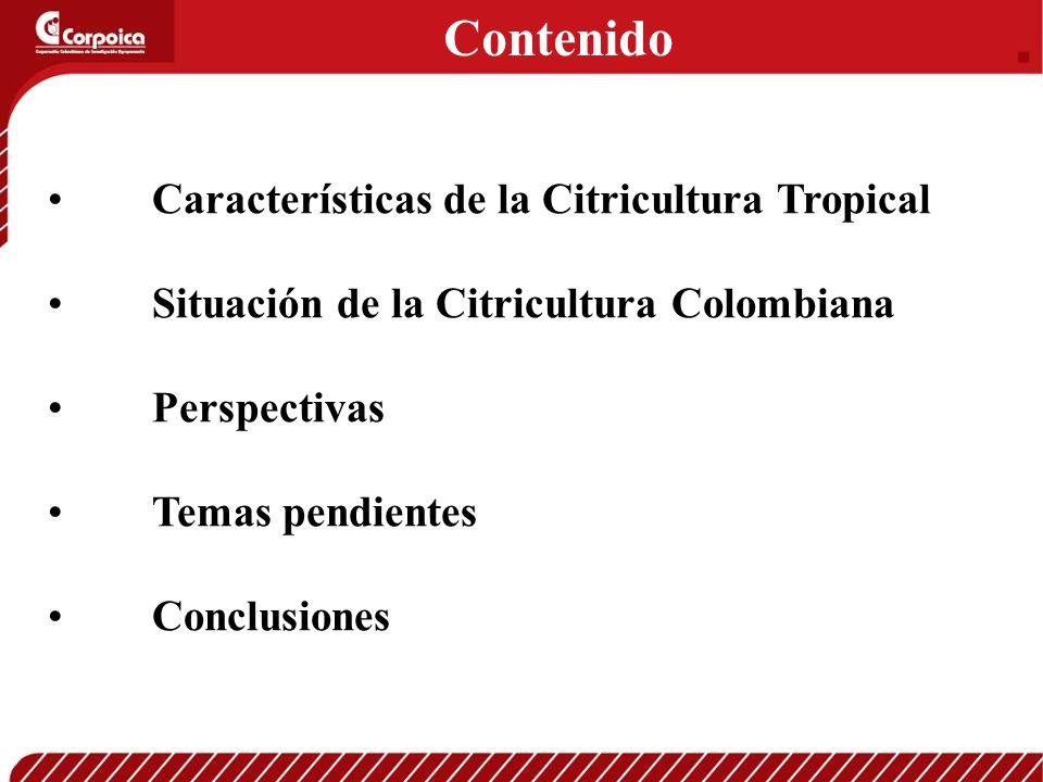 Características de la Citricultura Tropical Situación de la Citricultura Colombiana Perspectivas Temas pendientes Conclusiones Contenido