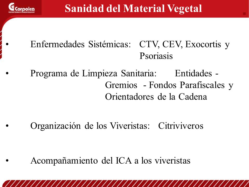 Sanidad del Material Vegetal Enfermedades Sistémicas: CTV, CEV, Exocortis y Psoriasis Programa de Limpieza Sanitaria: Entidades - Gremios - Fondos Par