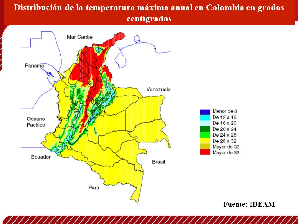 Distribución de la temperatura máxima anual en Colombia en grados centígrados Fuente: IDEAM