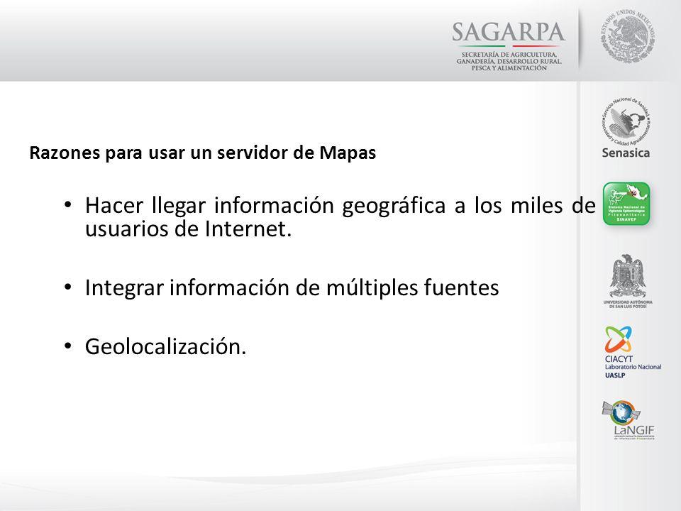 Razones para usar un servidor de Mapas Hacer llegar información geográfica a los miles de usuarios de Internet. Integrar información de múltiples fuen