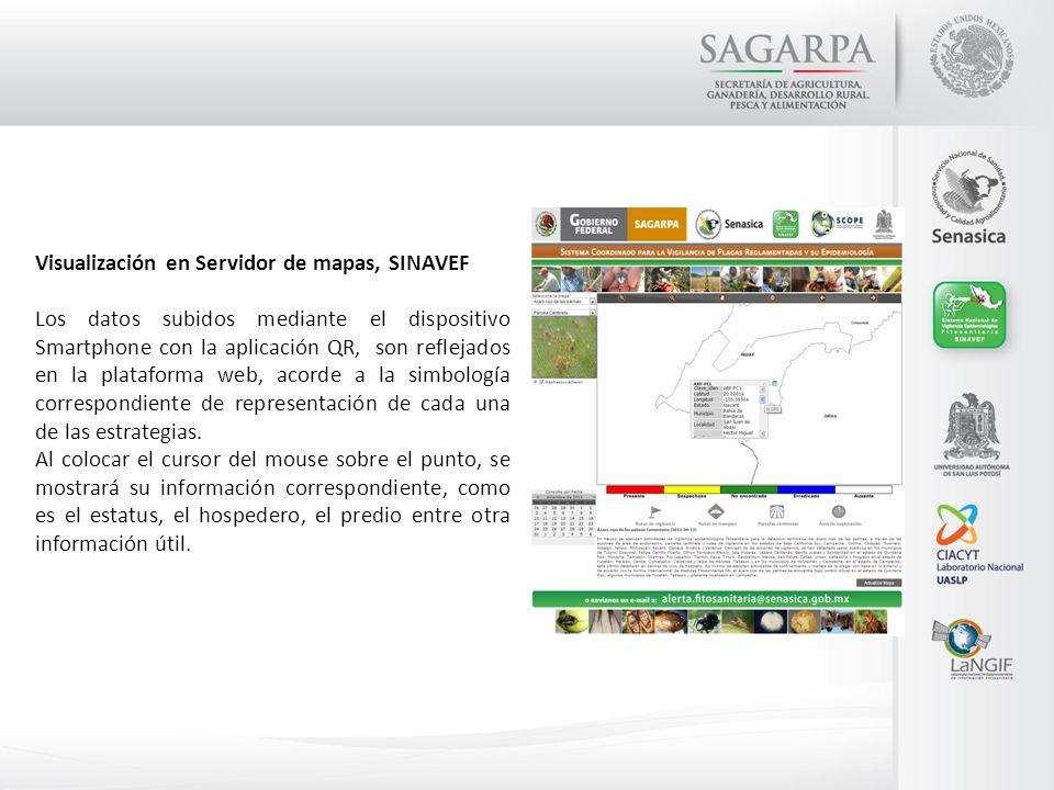 Visualización en Servidor de mapas, SINAVEF Los datos subidos mediante el dispositivo Smartphone con la aplicación QR, son reflejados en la plataforma
