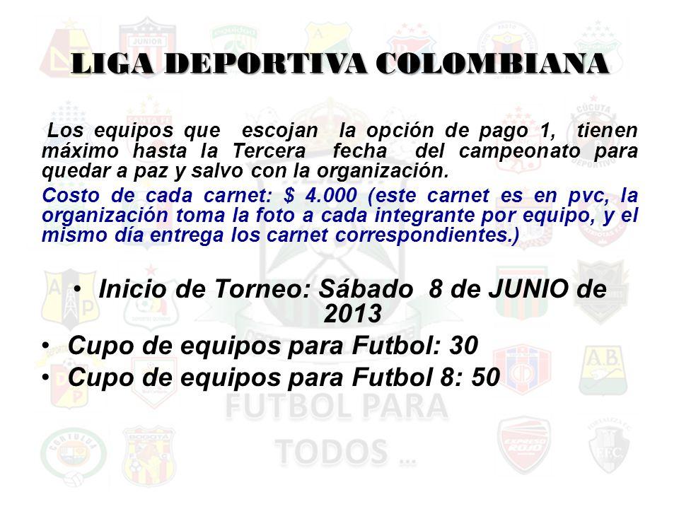 LIGA DEPORTIVA COLOMBIANA Los equipos que escojan la opción de pago 1, tienen máximo hasta la Tercera fecha del campeonato para quedar a paz y salvo con la organización.