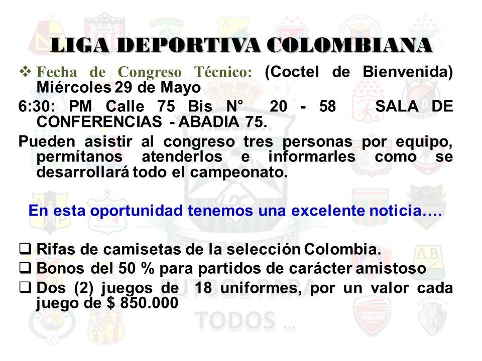 LIGA DEPORTIVA COLOMBIANA Fecha de Congreso Técnico: (Coctel de Bienvenida) Miércoles 29 de Mayo 6:30: PM Calle 75 Bis N° 20 - 58 SALA DE CONFERENCIAS - ABADIA 75.