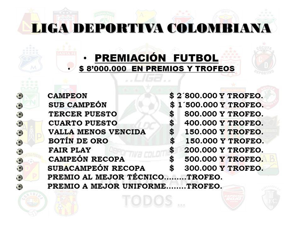 LIGA DEPORTIVA COLOMBIANA PREMIACIÓN FUTBOL $ 8000.000 EN PREMIOS Y TROFEOS CAMPEON$ 2´800.000 Y TROFEO.