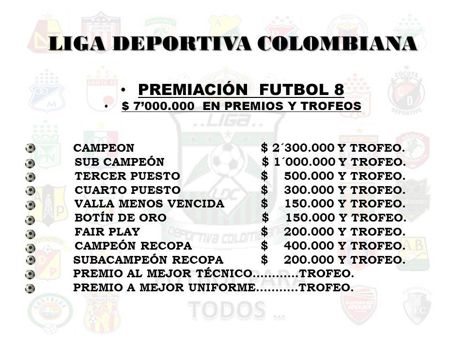LIGA DEPORTIVA COLOMBIANA PREMIACIÓN FUTBOL 8 $ 7000.000 EN PREMIOS Y TROFEOS CAMPEON$ 2´300.000 Y TROFEO.