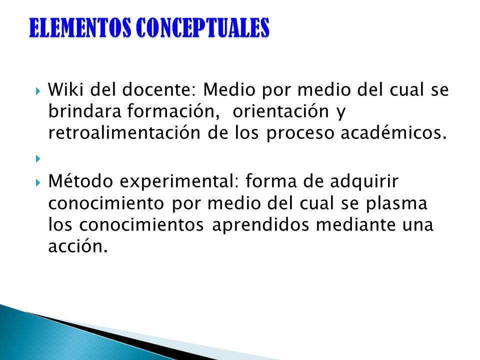 Wiki del docente: Medio por medio del cual se brindara formación, orientación y retroalimentación de los proceso académicos. Método experimental: form