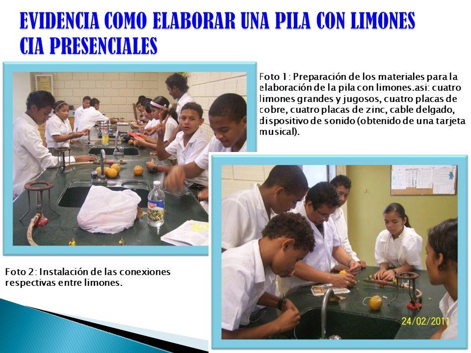 Foto 1: Preparación de los materiales para la elaboración de la pila con limones.asi: cuatro limones grandes y jugosos, cuatro placas de cobre, cuatro