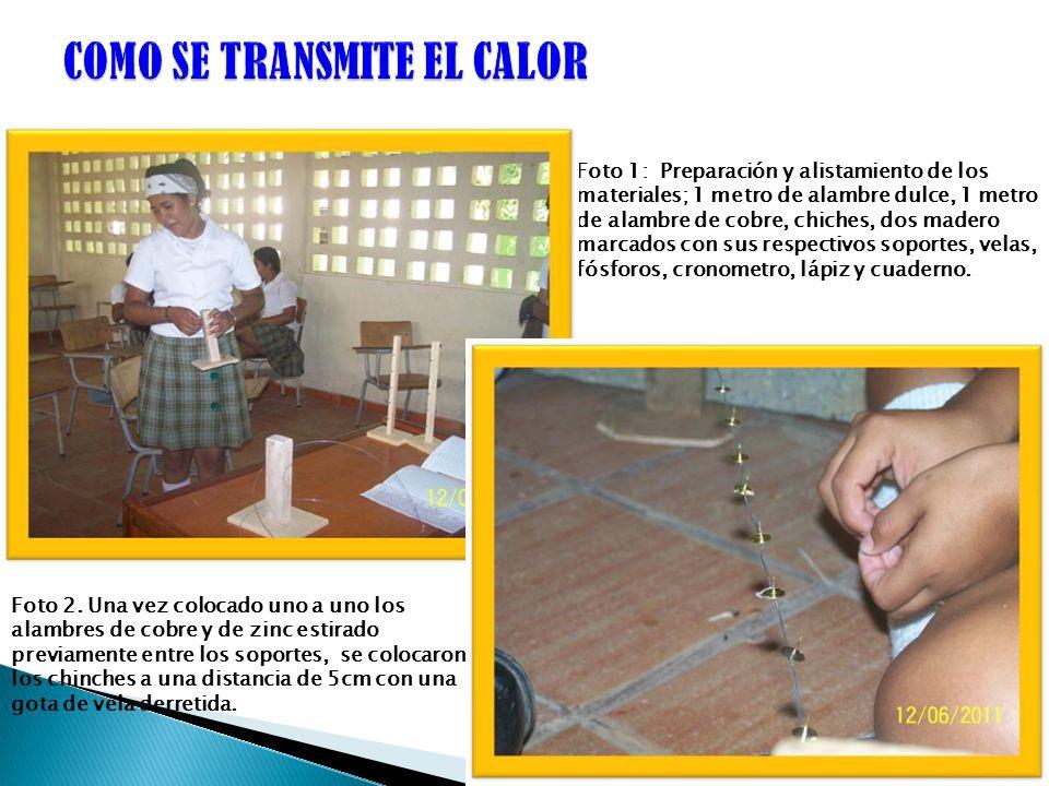 Foto 1: Preparación y alistamiento de los materiales; 1 metro de alambre dulce, 1 metro de alambre de cobre, chiches, dos madero marcados con sus resp