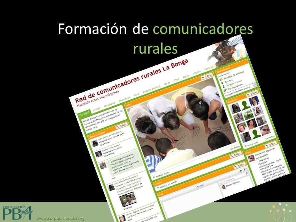 www.corporacionpba.org Formación de comunicadores rurales
