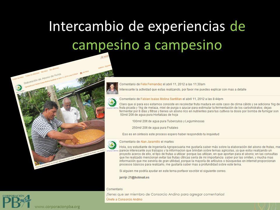 www.corporacionpba.org Intercambio de experiencias de campesino a campesino