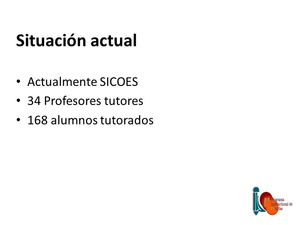Situación actual Actualmente SICOES 34 Profesores tutores 168 alumnos tutorados