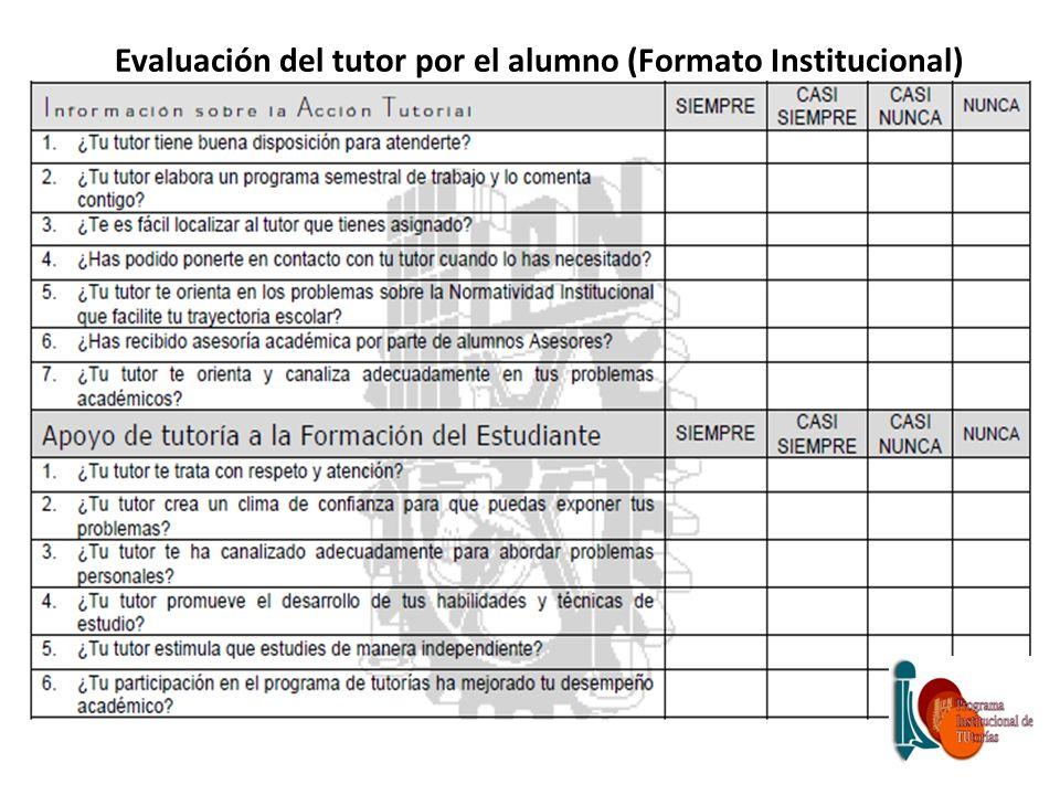 Evaluación del tutor por el alumno (Formato Institucional)