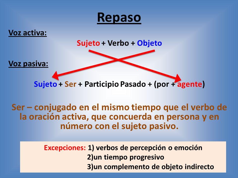 Repaso Voz activa: Sujeto + Verbo + Objeto Voz pasiva: Sujeto + Ser + Participio Pasado + (por + agente) Ser – conjugado en el mismo tiempo que el verbo de la oración activa, que concuerda en persona y en número con el sujeto pasivo.