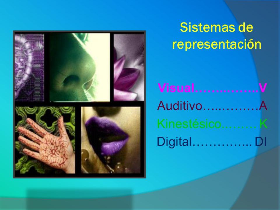 Sistemas de representación Visual……..……..V Auditivo…..………A Kinestésico..……. K Digital…………... DI