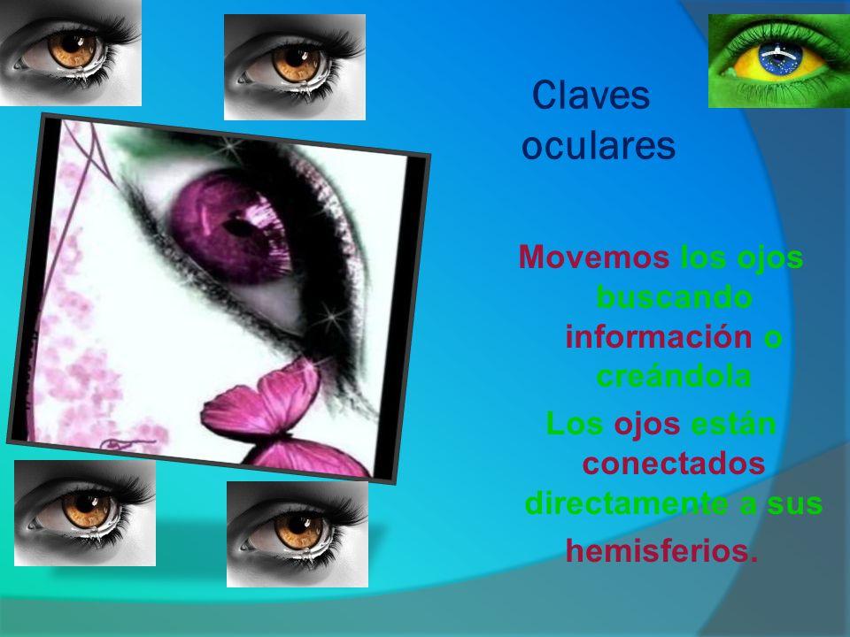 Claves oculares Movemos los ojos buscando información o creándola Los ojos están conectados directamente a sus hemisferios.