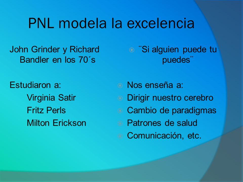 PNL modela la excelencia John Grinder y Richard Bandler en los 70´s Estudiaron a: Virginia Satir Fritz Perls Milton Erickson ¨Si alguien puede tu pued