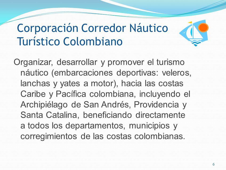 Corredor Náutico Turístico Colombiano Esla consolidación de las costas Caribe y Pacífica colombiana como escenario potencial y de alta calidad para el desarrollo sostenible del turismo náutico y deportivo.