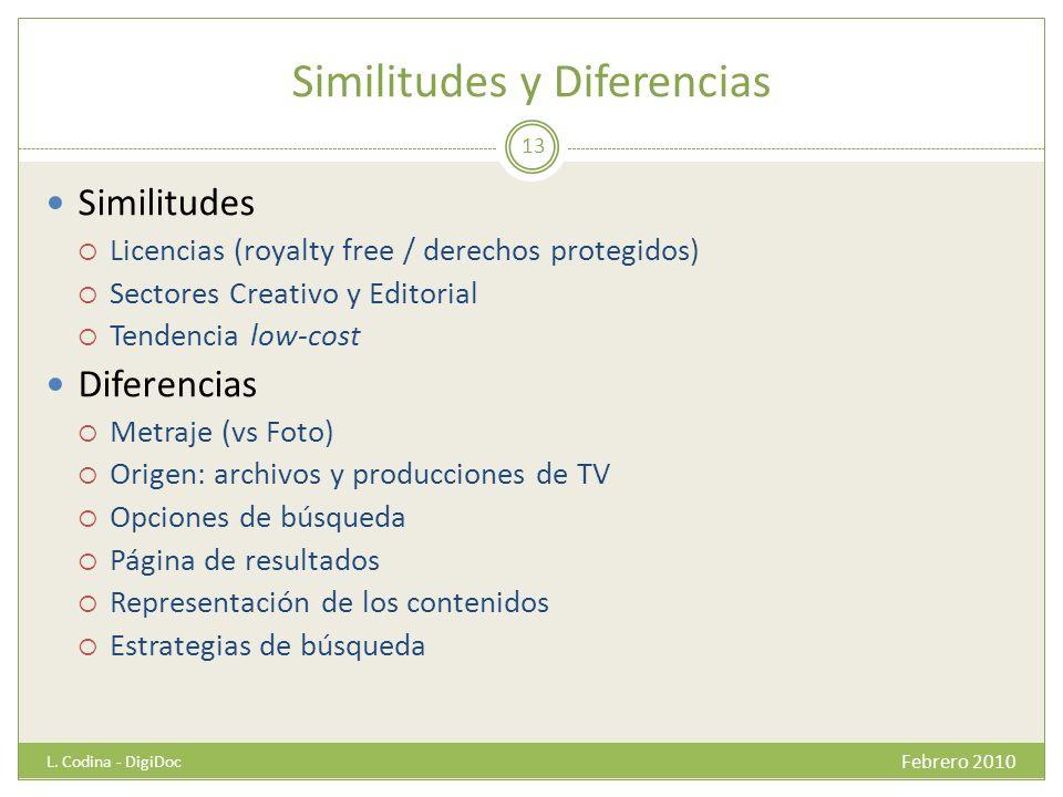 Similitudes y Diferencias Similitudes Licencias (royalty free / derechos protegidos) Sectores Creativo y Editorial Tendencia low-cost Diferencias Metr