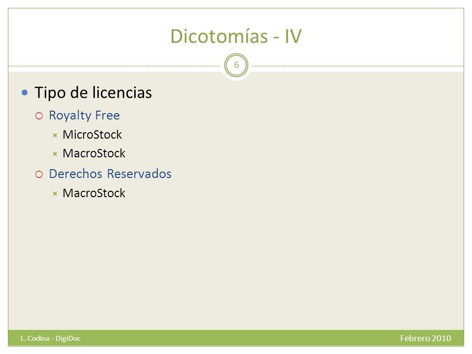 Dicotomías - IV Tipo de licencias Royalty Free MicroStock MacroStock Derechos Reservados MacroStock Febrero 2010 L. Codina - DigiDoc 6