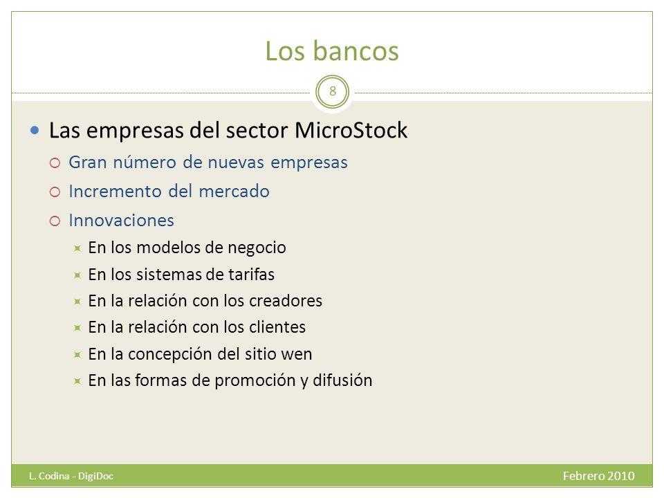 Los bancos Las empresas del sector MicroStock Gran número de nuevas empresas Incremento del mercado Innovaciones En los modelos de negocio En los sist