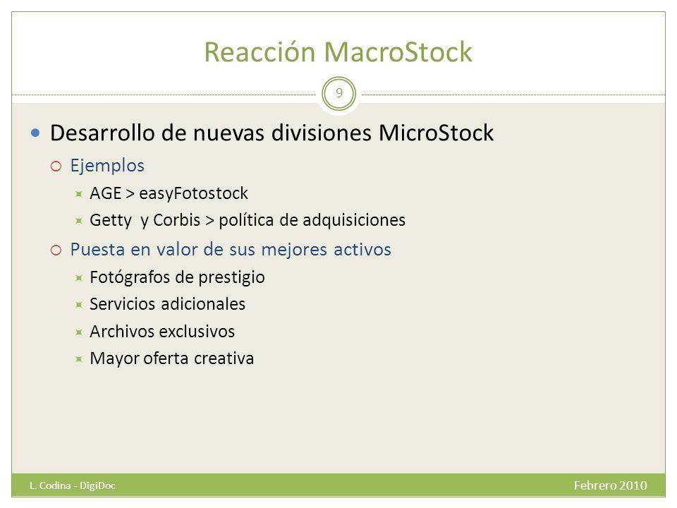 Reacción MacroStock Desarrollo de nuevas divisiones MicroStock Ejemplos AGE > easyFotostock Getty y Corbis > política de adquisiciones Puesta en valor