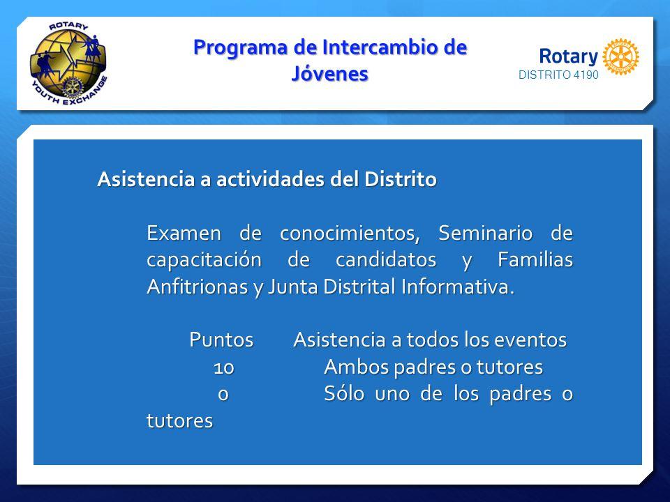 Programa de Intercambio de Jóvenes Asistencia a actividades del Distrito Asistencia a actividades del Distrito Examen de conocimientos, Seminario de c