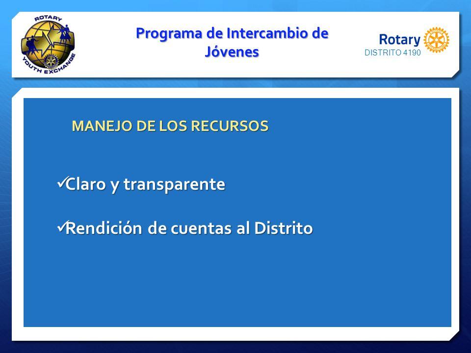 Programa de Intercambio de Jóvenes MANEJO DE LOS RECURSOS MANEJO DE LOS RECURSOS Claro y transparente Claro y transparente Rendición de cuentas al Dis