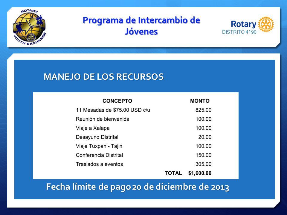 Programa de Intercambio de Jóvenes MANEJO DE LOS RECURSOS MANEJO DE LOS RECURSOS Fecha límite de pago20 de diciembre de 2013 DISTRITO 4190