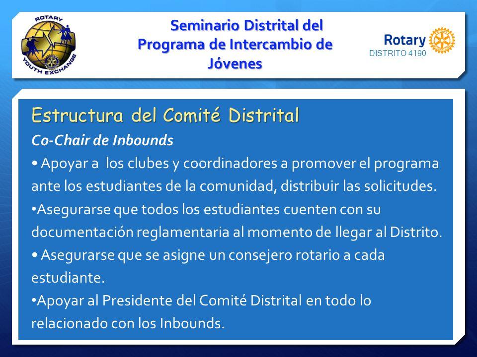 Seminario Distrital del Programa de Intercambio de Jóvenes Estructura del Comité Distrital Co-Chair de Inbounds Apoyar a los clubes y coordinadores a