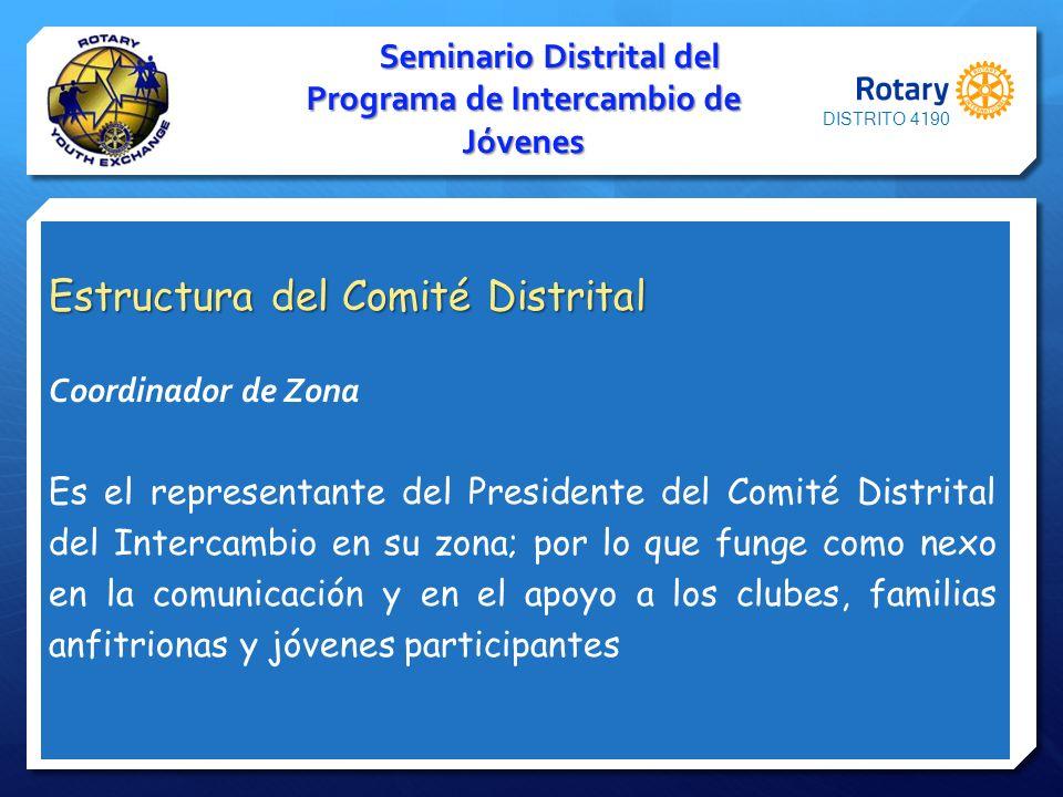Seminario Distrital del Programa de Intercambio de Jóvenes Estructura del Comité Distrital Coordinador de Zona Es el representante del Presidente del