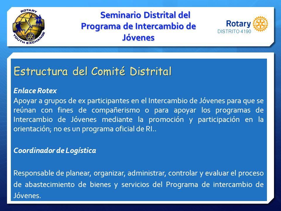 Seminario Distrital del Programa de Intercambio de Jóvenes Estructura del Comité Distrital Enlace Rotex Apoyar a grupos de ex participantes en el Inte