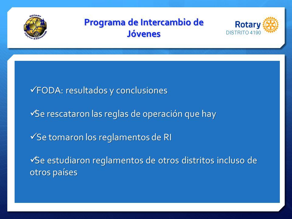 Programa de Intercambio de Jóvenes FODA: resultados y conclusiones FODA: resultados y conclusiones Se rescataron las reglas de operación que hay Se re