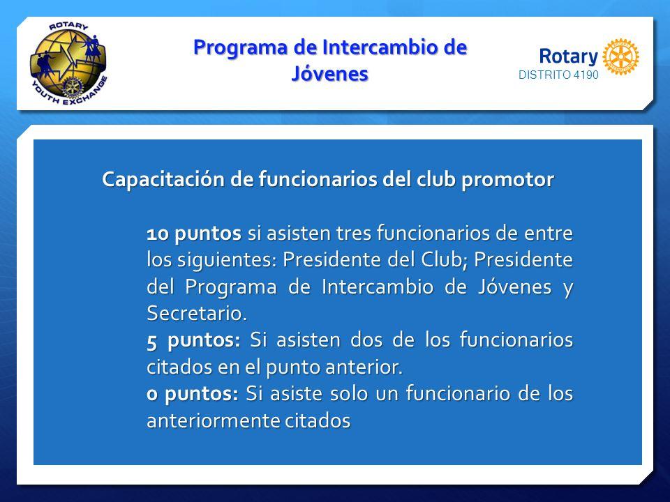Programa de Intercambio de Jóvenes Capacitación de funcionarios del club promotor Capacitación de funcionarios del club promotor 10 puntos si asisten