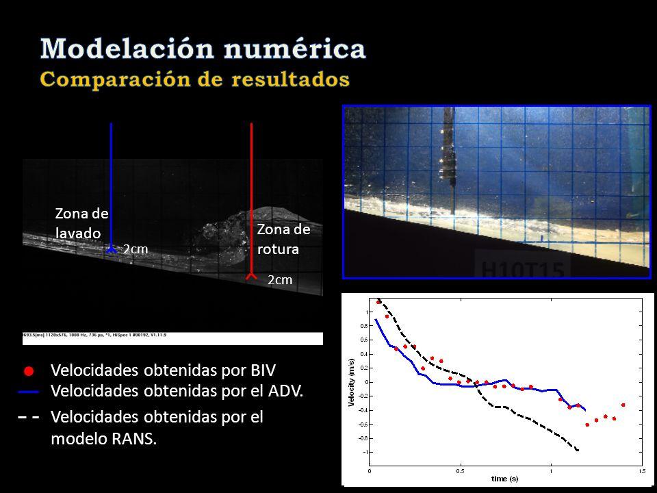 2cm Vectrinos Zona de lavado Zona de rotura Velocidades obtenidas por BIV Velocidades obtenidas por el ADV. Velocidades obtenidas por el modelo RANS.