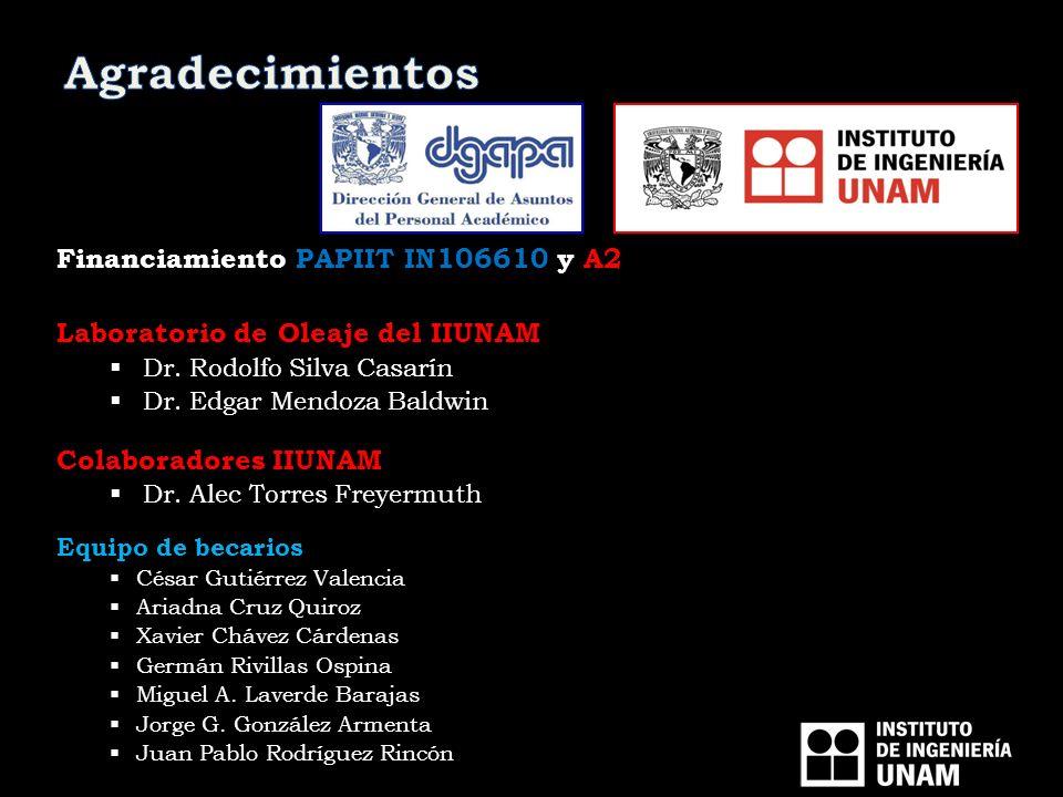Financiamiento PAPIIT IN106610 y A2 Laboratorio de Oleaje del IIUNAM Dr. Rodolfo Silva Casarín Dr. Edgar Mendoza Baldwin Colaboradores IIUNAM Dr. Alec