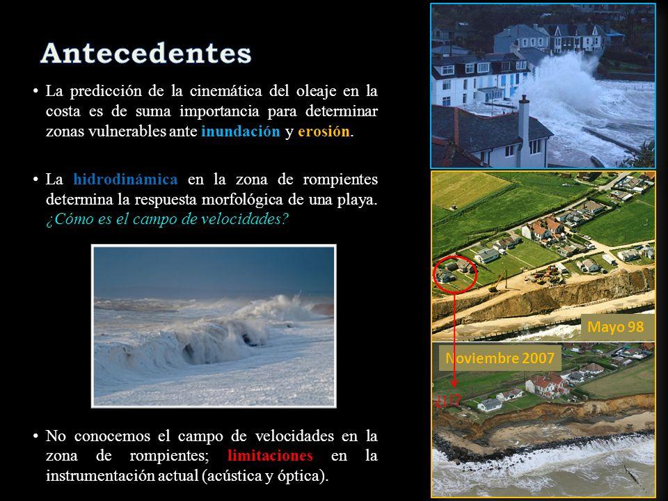 A partir de los resultados procesados en este estudio (en curso), se rescatan las siguientes conclusiones: Se caracterizó la naturaleza espacial del gradiente de presión a lo largo de la zona de cercanías de la costa (rompientes y vaivén).