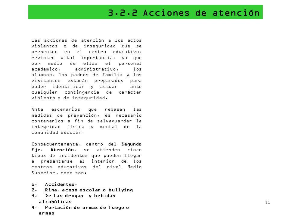 3.2.2 Acciones de atención 11 Las acciones de atención a los actos violentos o de inseguridad que se presenten en el centro educativo, revisten vital