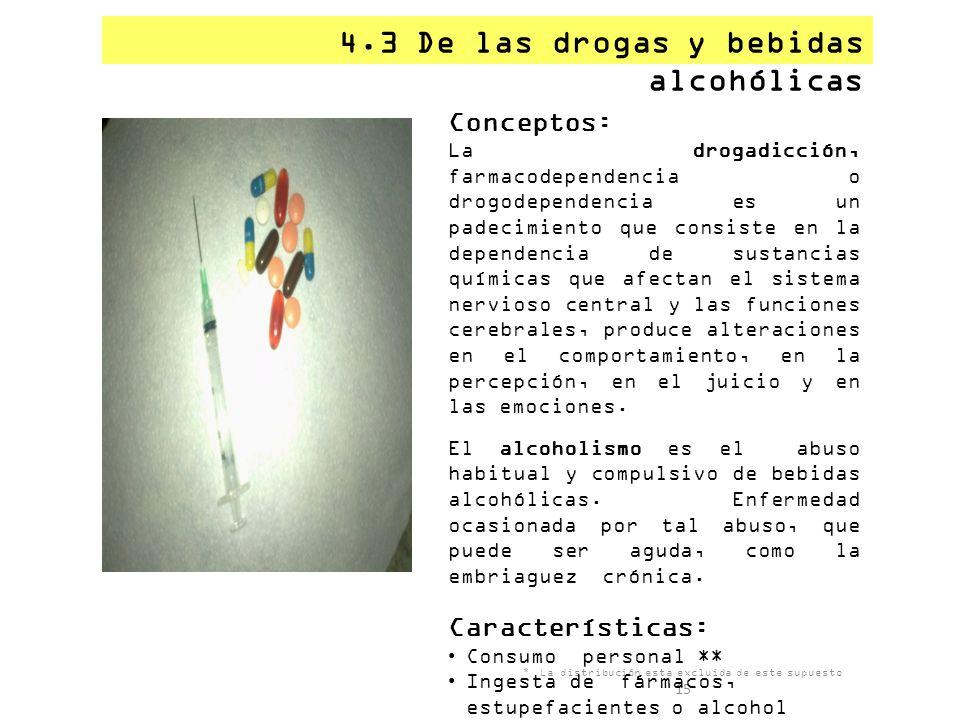 4.3 De las drogas y bebidas alcohólicas * La distribución esta excluida de este supuesto 15 Conceptos: La drogadicción, farmacodependencia o drogodepe