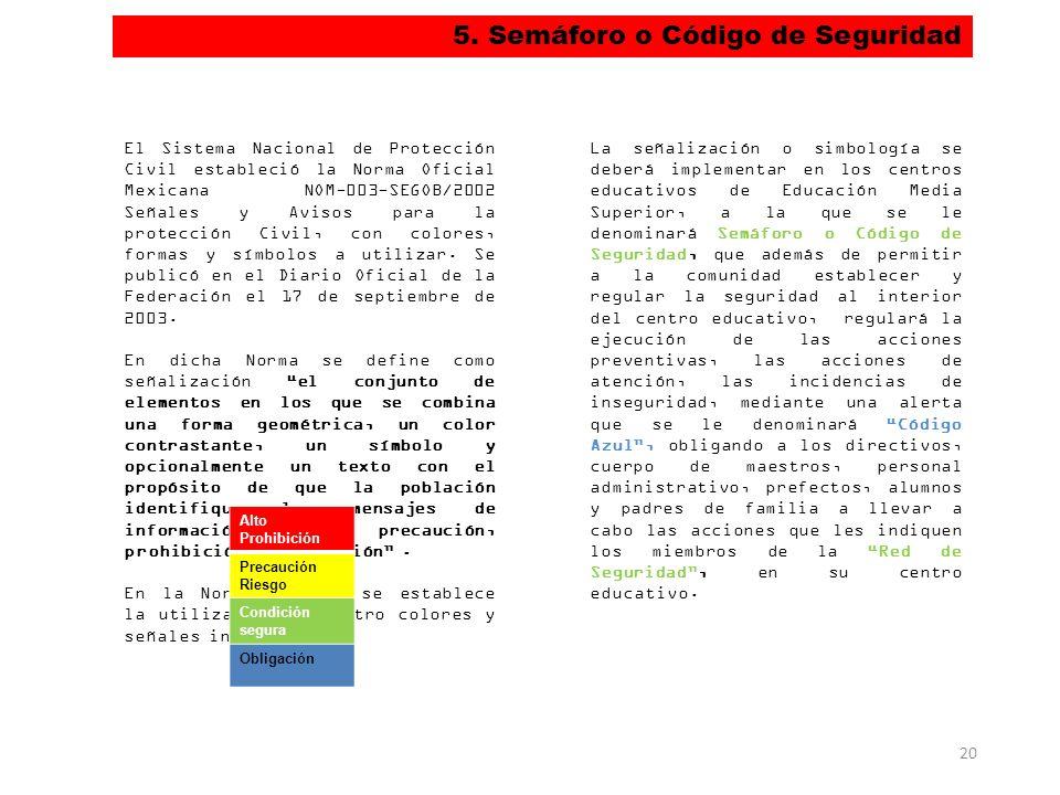 5. Semáforo o Código de Seguridad 20 El Sistema Nacional de Protección Civil estableció la Norma Oficial Mexicana NOM-003-SEGOB/2002 Señales y Avisos