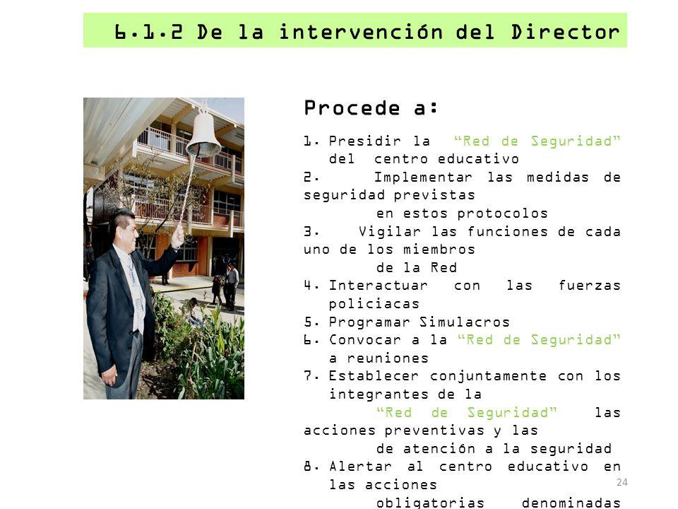 6.1.2 De la intervención del Director 24 Procede a: 1.Presidir la Red de Seguridad del centro educativo 2. Implementar las medidas de seguridad previs