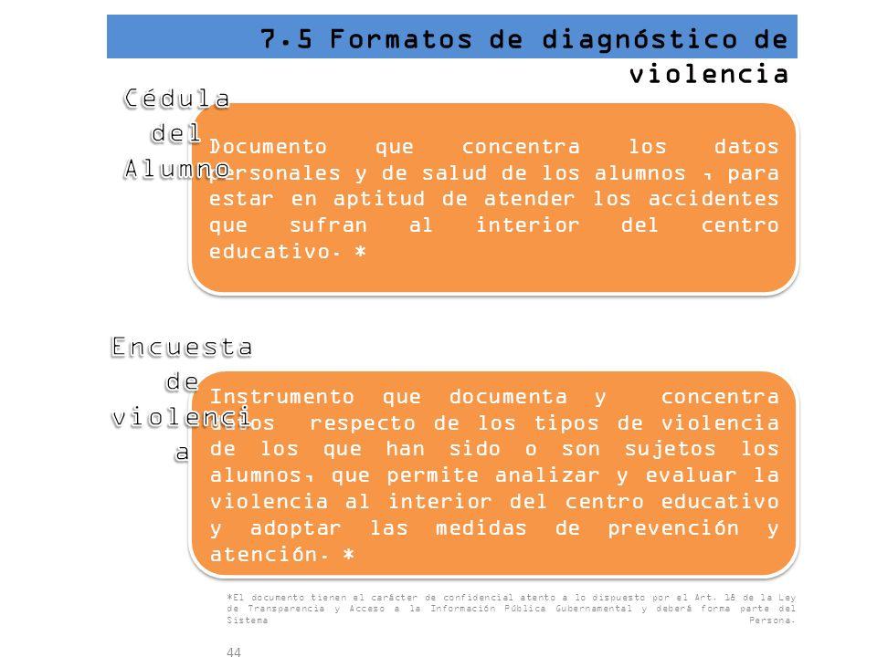 7.5 Formatos de diagnóstico de violencia Documento que concentra los datos personales y de salud de los alumnos, para estar en aptitud de atender los