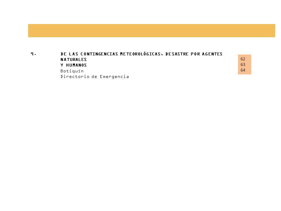 9.DE LAS CONTINGENCIAS METEOROLÓGICAS, DESASTRE POR AGENTES NATURALES Y HUMANOS Botiquín Directorio de Emergencia 62 63 64