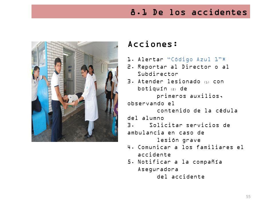 55 8.1 De los accidentes Acciones: 1.Alertar Código Azul 1* 2.Reportar al Director o al Subdirector 3.Atender lesionado (1) con botiquín (2) de primer