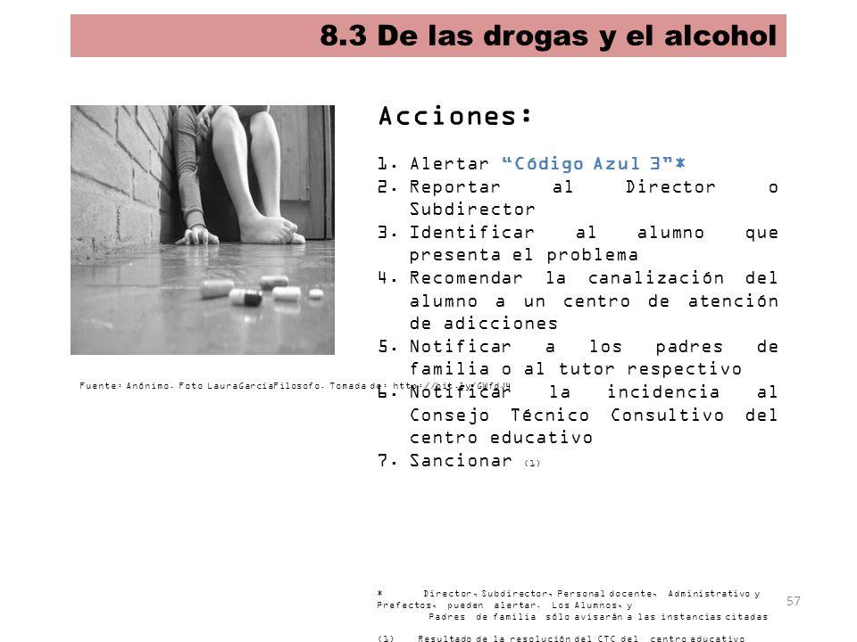 57 8.3 De las drogas y el alcohol Acciones: 1.Alertar Código Azul 3* 2.Reportar al Director o Subdirector 3.Identificar al alumno que presenta el prob