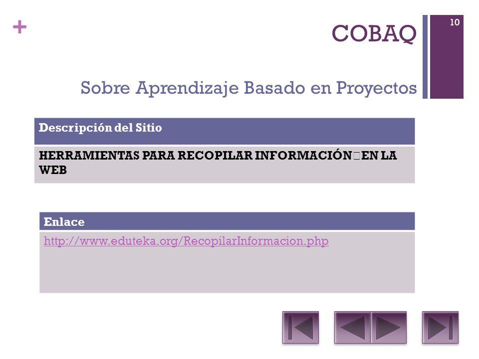 + COBAQ Sobre Aprendizaje Basado en Proyectos Descripción del Sitio HERRAMIENTAS PARA RECOPILAR INFORMACIÓN EN LA WEB Enlace http://www.eduteka.org/RecopilarInformacion.php 10