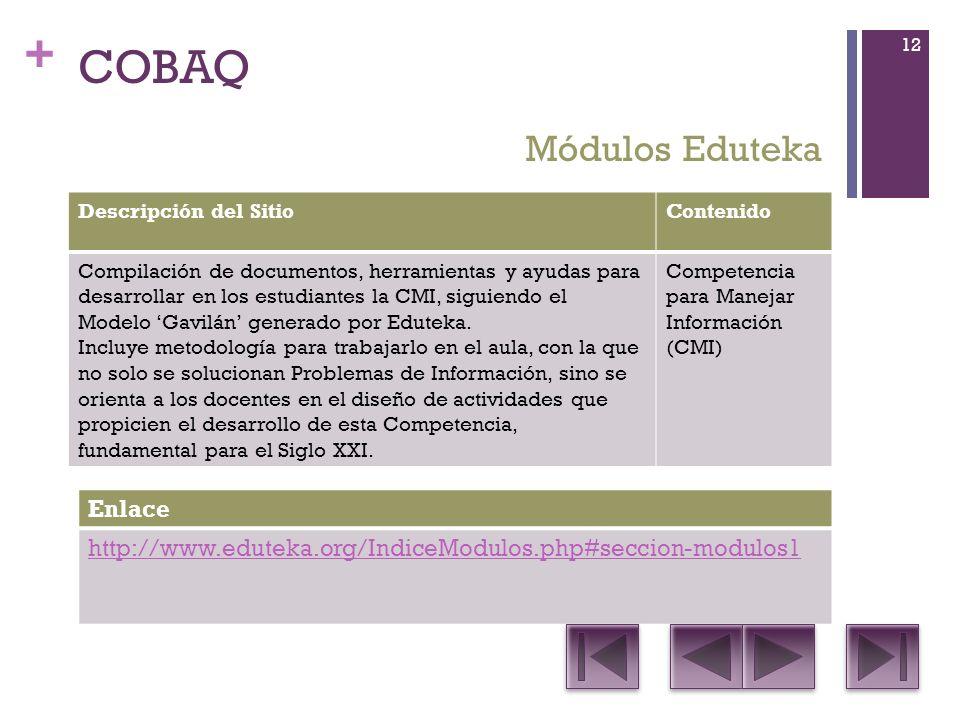 + COBAQ Descripción del SitioContenido Compilación de documentos, herramientas y ayudas para desarrollar en los estudiantes la CMI, siguiendo el Modelo Gavilán generado por Eduteka.