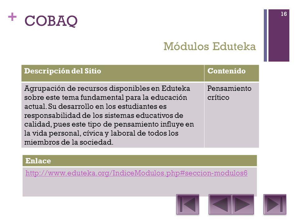 + COBAQ Descripción del SitioContenido Agrupación de recursos disponibles en Eduteka sobre este tema fundamental para la educación actual.