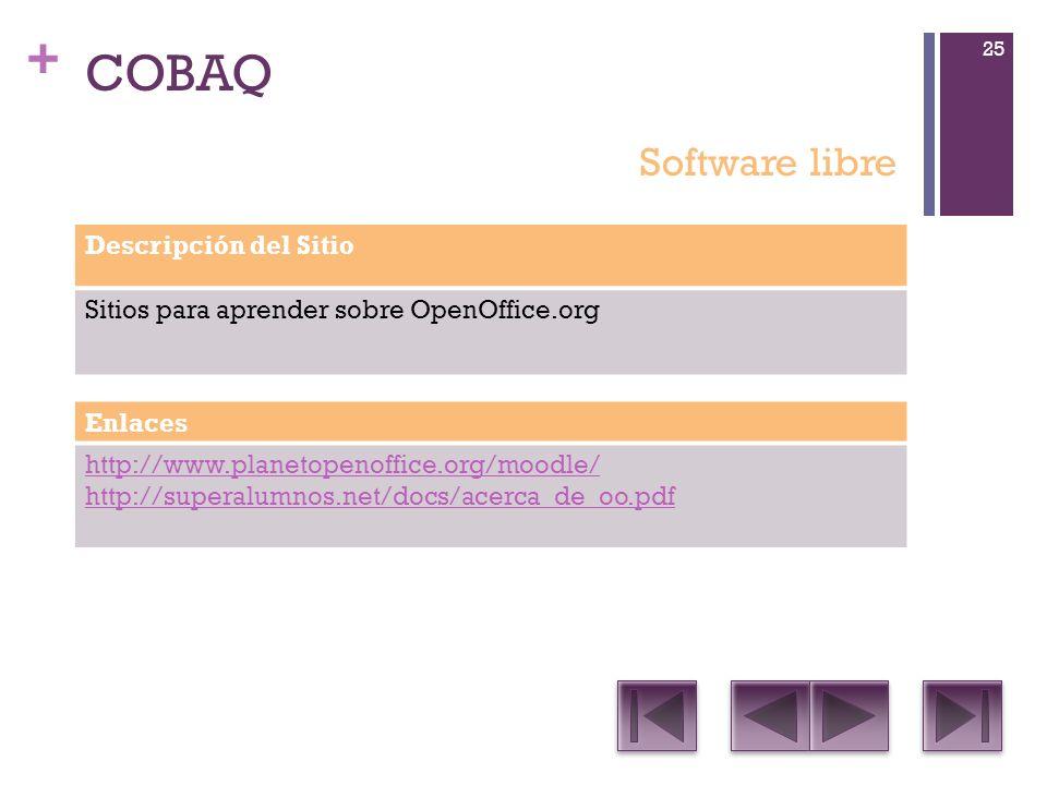 + COBAQ Descripción del Sitio Sitios para aprender sobre OpenOffice.org Enlaces http://www.planetopenoffice.org/moodle/ http://superalumnos.net/docs/acerca_de_oo.pdf Software libre 25