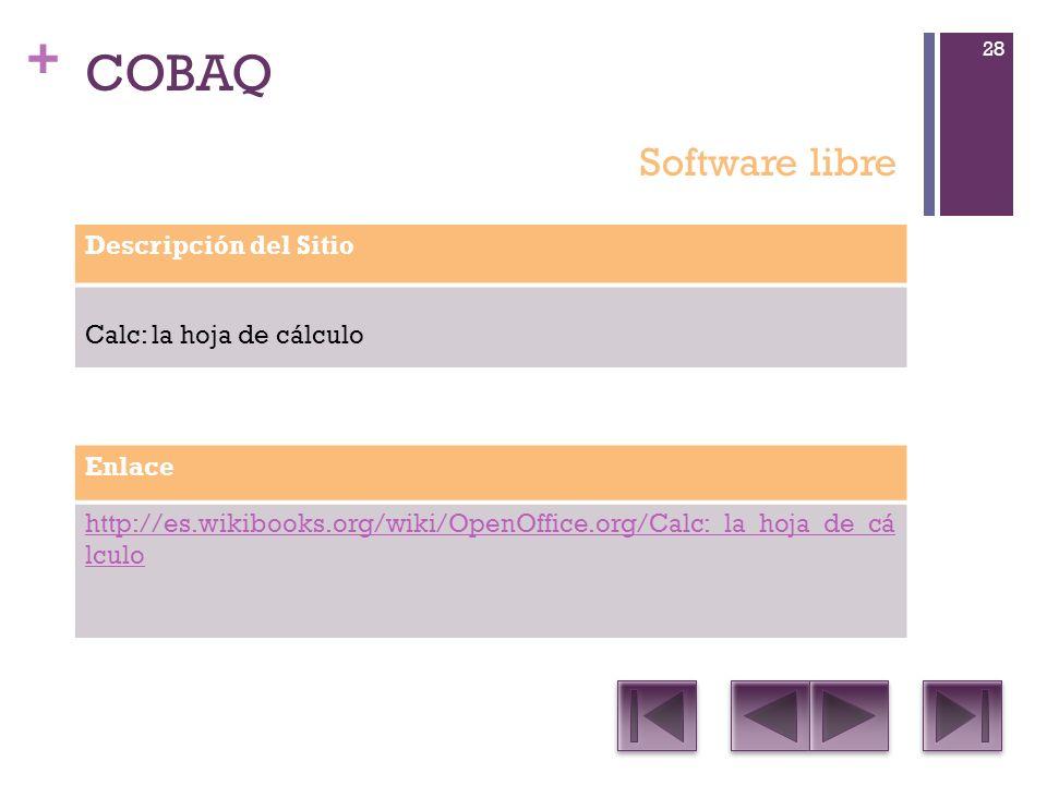 + COBAQ Descripción del Sitio Calc: la hoja de cálculo Enlace http://es.wikibooks.org/wiki/OpenOffice.org/Calc:_la_hoja_de_cá lculo Software libre 28